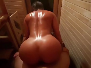 Big boobs puertorican wife fucks a dude in the sauna