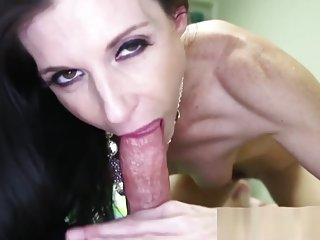 Cougar milf teases before tugging and sucking