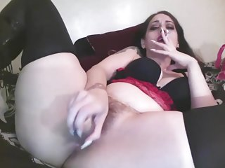 Smoking and Fucking my Hairy Pussy