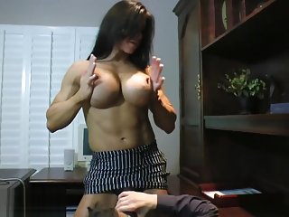 Angela Salvagno makes guy worship her strapon cock