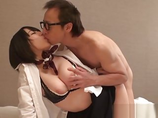 Amazing Japanese AV Model gives a hot titty fucking