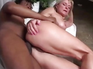 Blonde Granny Anal Fucked by a Black Big Cook