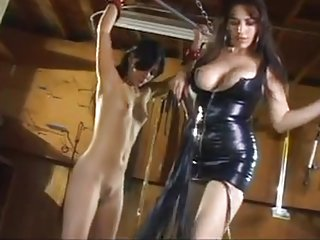 Taylor whips brunette's pussy and ass