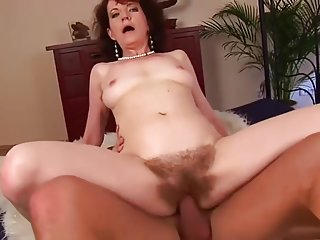 Charming unhaved Czech mature female is sucking penis